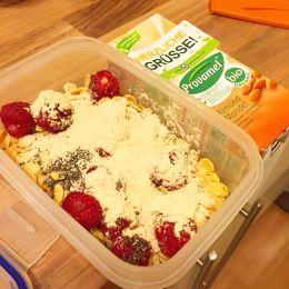 Optimal zum Mitnehmen sind auch kleine Pflanzenmilchpäckchen und ein Müsli mit frischen Früchten und Proteinpulver in einer Tupperdose.