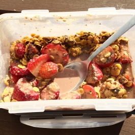 If you buy the small boxes of plant based milk you can take it with you with a muesli with fresh fruits and protein powder in a lunch box.