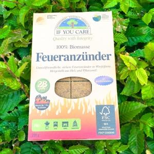If you care Feueranzünder 100% Biomasse Dieser besteht aus FSC-Holz und gentechnikfreiem Pflanzenöl. Für uns optimal, da wir sehr gerne grillen und uns jetzt erst einen kleinen Grill gekauft haben.