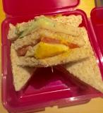 Für die Verpflegung auf dem Flug gab es dieses Club Sandwich.