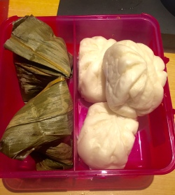 Auch mit auf den Flug kamen dieser Nourishing Sticky Rice mit Bohnen und mit Bohnenpaste gefüllte Dumplings. Alles vom Loving Hut.