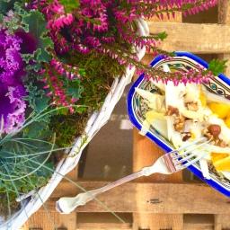 Chicorée-Obst Salat mit Joghurtdressing (vegan)